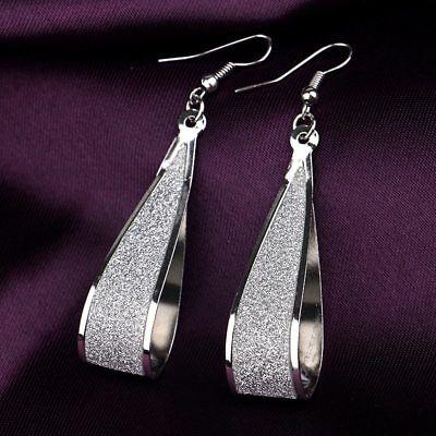 - Womens 925 Sterling Silver Twist Spiral Long Drop Dangle Charm Earrings New
