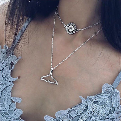 Fashion Mermaid Scales Whale Tail Fish Pendant Necklace Jewelry for Women - Whale Gifts