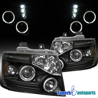 For 2007-2013 Chevy Tahoe/Suburban/Avalanche LED Halo Projector Headlights Black