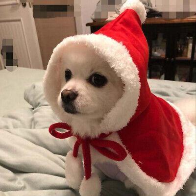 Pet Dog Cat Christmas Santa Hat Cloak Cape Puppy Velvet Xmas Warm Costume Outfit ()