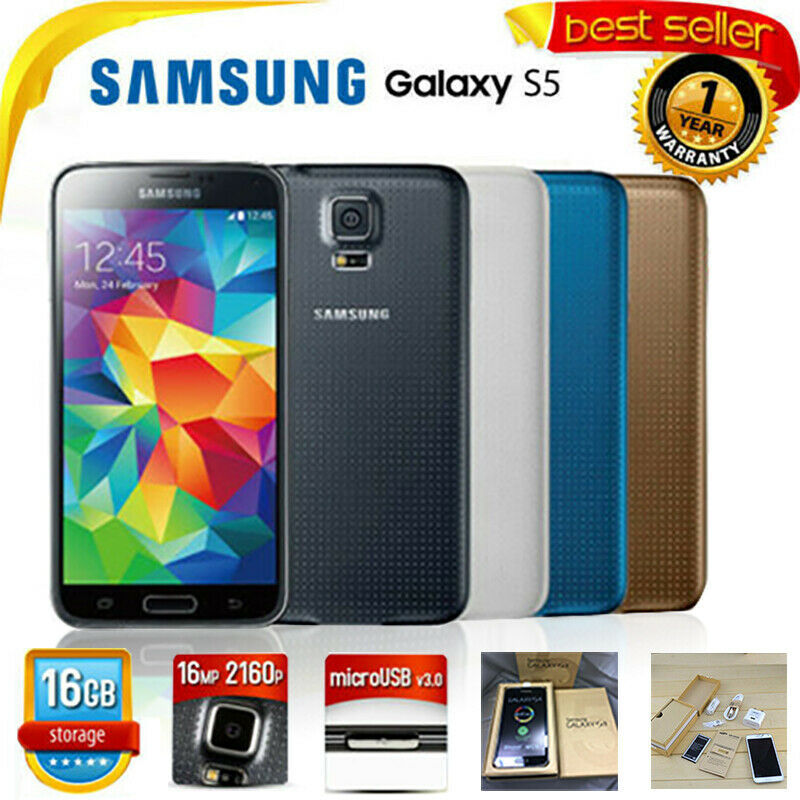 Neu Samsung Galaxy S5 SM-G900F 16GB Handy Phone 4G Android Smartphone in Box