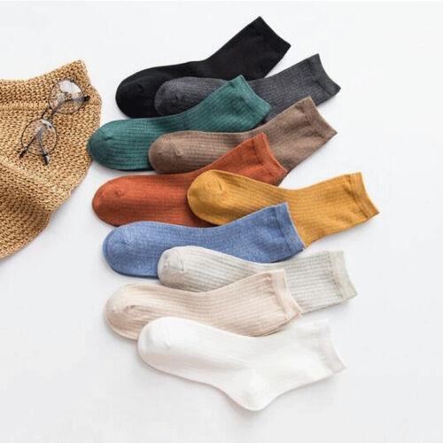 Solid Color Harajuku Retro Women Lady Cotton Socks Winter In
