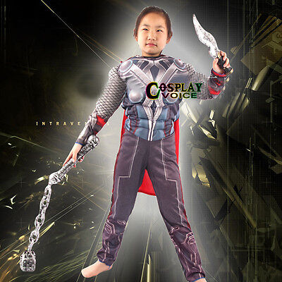 Children Anime For The Avengers Thor Halloween Party Continuous Clothing + Cape - Thor Halloween Costume For Kids
