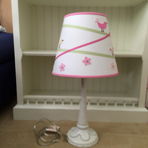 Pottery Barn Kids Antique Finish Flower Lamp Base w/ Birds Shade