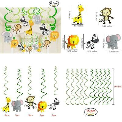 30 Ct Jungle Animals Hanging Swirl Decorations For Forest Theme Birthday Baby Sh - Jungle Theme Animals
