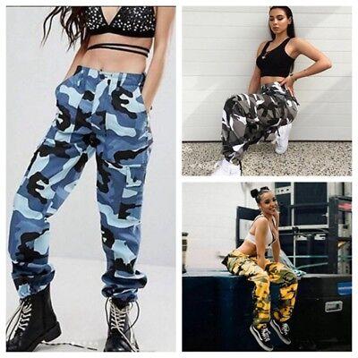 Damen Camouflage Jogging Harem Hosen Frauen Cargohose Camo Military Hip Hop Hose