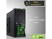 Windows 10 Core i7 Quad Core Gaming Tower PC - 16GB DDR3 - 120GB SSD & 2TB HDD.