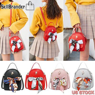 Women Scarf Mini Backpack Purse Leather Handbag Small Rucksack Shoulder Bags US Leather Mini Backpack Handbag