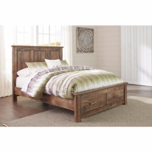 NEW QUEEN WOODEN, LEATHER AND METAL BED FRAMES