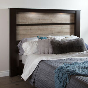 Gloria Contemporary Storage Headboard - King - Brown New in Box
