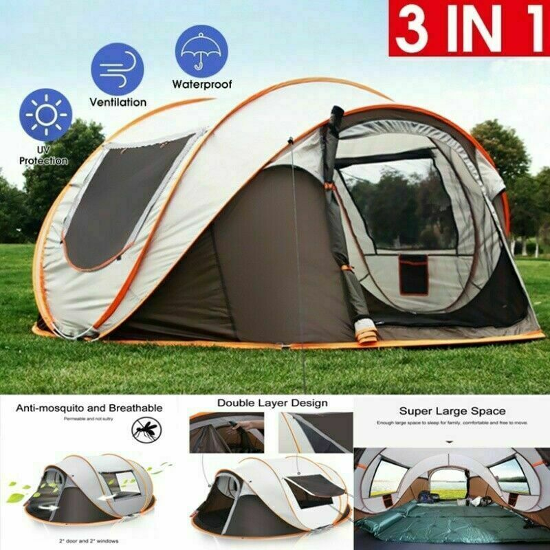 5-8 Person Instant Auto Pop-Up Khaki Camping Tent Waterproof Family Shelter Tent