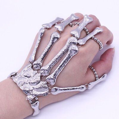 Silver Talon Skeleton Hand Finger Bone Bracelet Ring Gothic Skull Bangle USA - Hand Skeleton