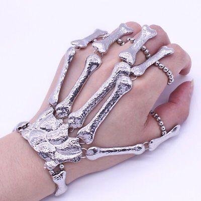Silver Talon Skeleton Hand Finger Bone Bracelet Ring Gothic Skull Bangle - Skeleton Hand Ring Bracelet