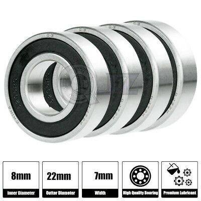 4x Ss 608-2rs Ball Bearing Roller Skate Board Long Board Inline Stainless Steel