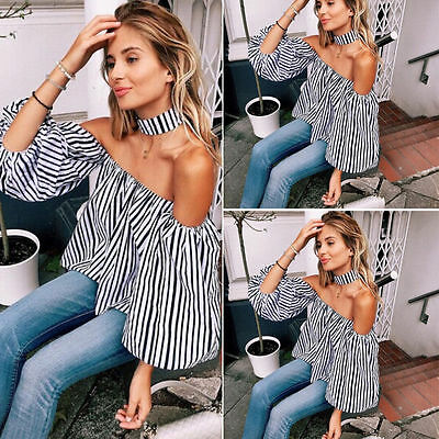 Women's Ladies Summer Lace Off-shoulder Casual Blouses Crop Tops T-Shirt MAD