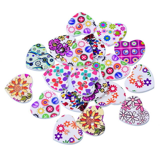 50PCs Mixed Wooden Buttons Floral Heart Love Fit Sewing Scrapbook 22x25mm Hot