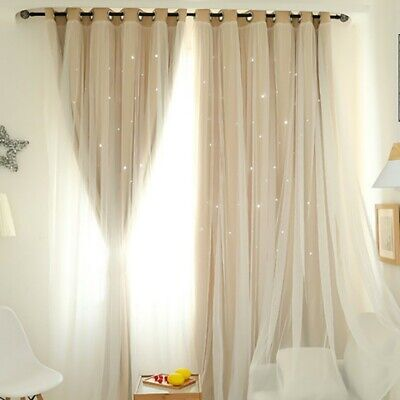 Starry Print Double-layer Blackout Curtain For Girls Bedroom Livingroom Decor Double Layer Print