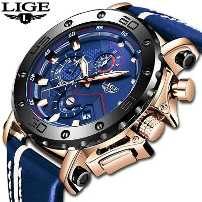 LIGE watch for men,New model, watch sports chronograph, quartz watch
