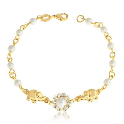 14k Gold Filled Charm Bracelet Women Pearl Rhinestones Elephant 7.5