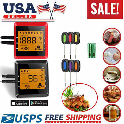 Digital Meat Thermometer Wireless Bluetooth BBQ Grill Food Cooking 6 Probes Kit!