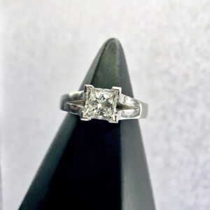 Certified and Inscribed Princess Cut Solitaire Engagement Ring