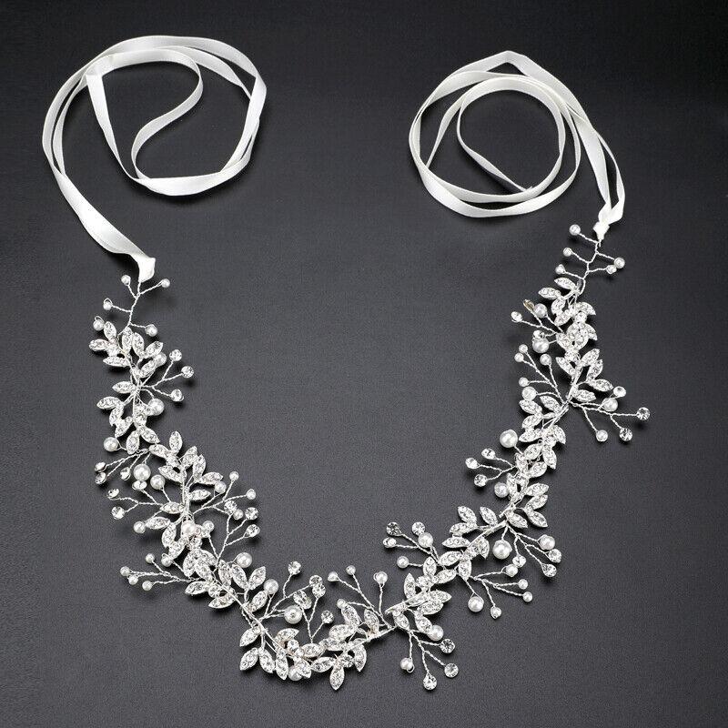 Lady Bridal Wedding Rhinestone Crystal Pearl Branch Hair Band Headband Headpiece