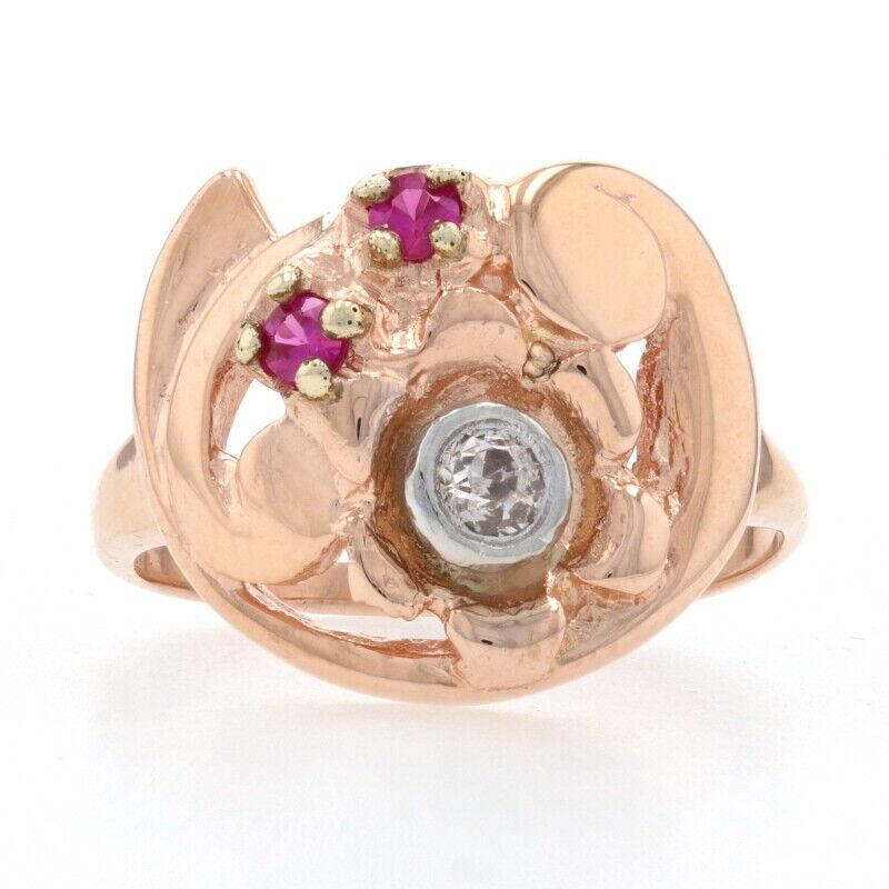 .20ctw Synthetic Ruby & Diamond Retro Ring - 14k Rose Gold Vintage Flower
