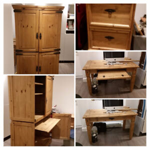Pine 3 piece set: armoire, desk and filing cabinet