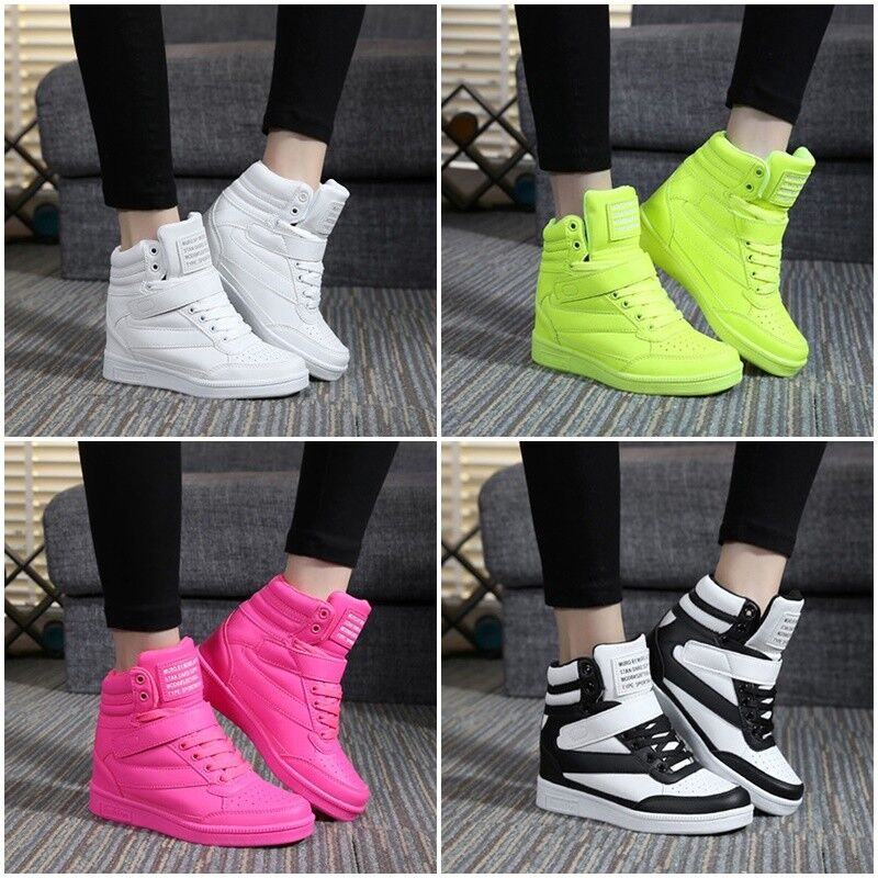 New Womens Sneakers Lace Up Athletic High Top Wedge Heel Cas