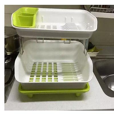 2 Tier Kitchen Dish Drying Rack Cup Spoon Storage Draining Board Organizer Green