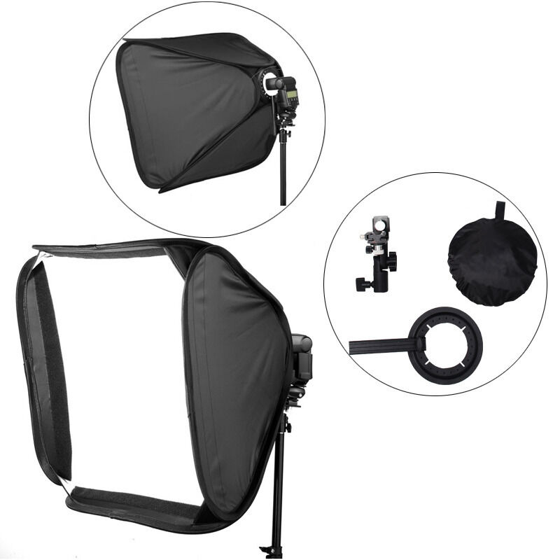 "24"" Photography Softbox Soft Box w/ Bracket for Flash Speedlights w/ Hot Shoe US"