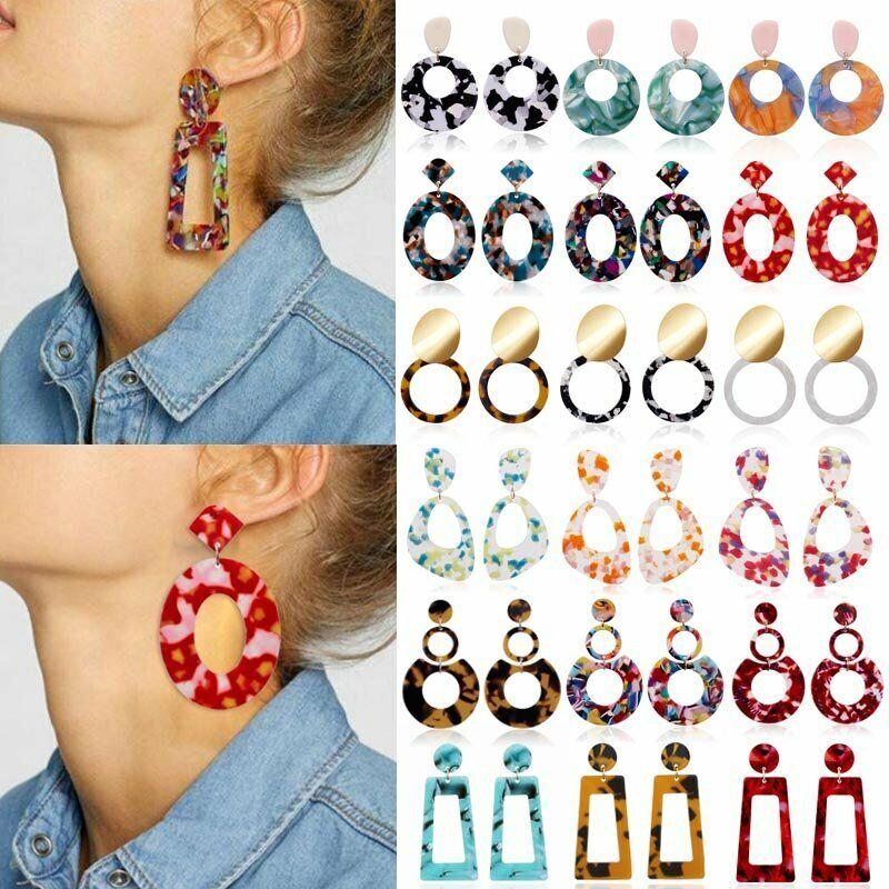 NEW Acrylic Statement Tortoise Shell Earrings Fashion Hoop R