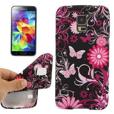 Hardcase Schutzhülle Cover Samsung Galaxy S5 Lila Schmetterlinge & Blumen Flower Lila Hard Case Cover