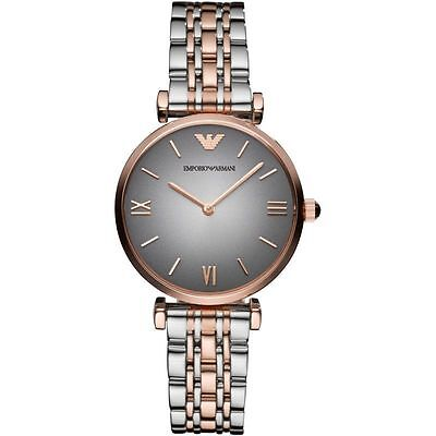 NEW EMPORIO ARMANI TWO TONE GIANNI T-BAR STAINLESS STEEL LADIES WATCH AR1725