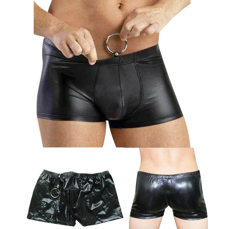 Men PU Leather Underwear Wet Look Boxer Briefs Shorts Pants Sheath Underpants-US