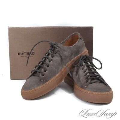 NIB Buttero Made in Italy Tanino Low Taupe Grey Suede Gum Sole Sneakers Shoes 44
