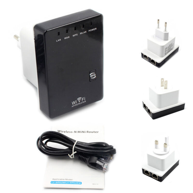 Wireless-N Mini Wifi Repeater 300Mbps Extender Router Client Bridge US Plug