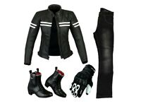 Ladies Suit - Ladies Leather Jacket, Jeans, Shoes & Gloves (Black)