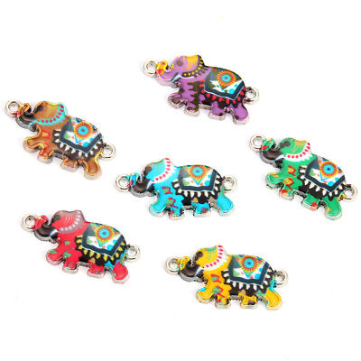 10Pc Enamel Colorful Elephant Connectors For Jewelry Making Bracelet Accessories - Elephant Charms