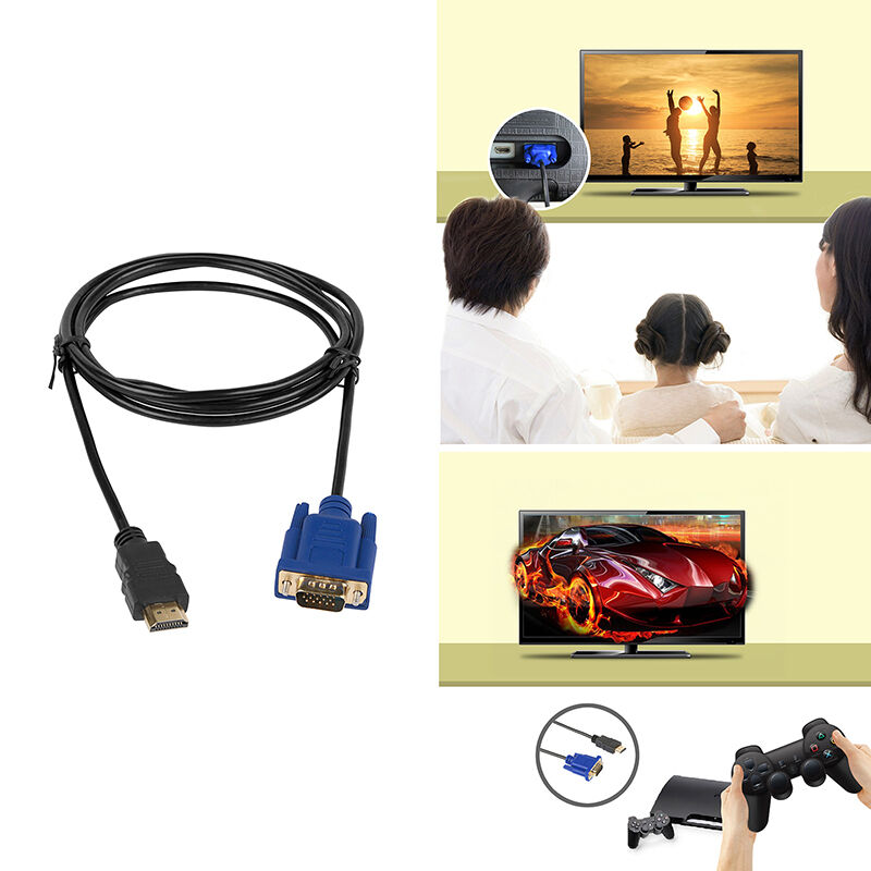 Gold HDMI Male to VGA Male 15 Pin Video Adapter Cable 1080P 6FT For TV BOX DVD