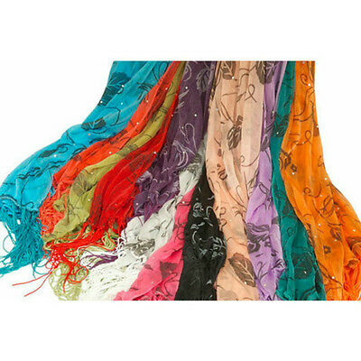 Lot of 6 NEW Polyester Shawl Long Scarf Stole Wrap Fashion Women scarves