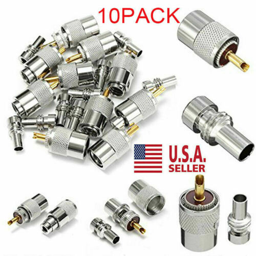 PL259 Solder Connector Plug with Reducer for RG8X Coaxial Coax Cable 10-pack