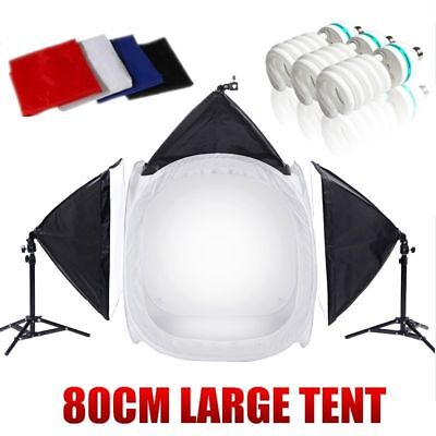 Fotostudio 80CM Lichtzelt 50x70cm Softbox Fotowürfel Lichtwürfel 4 Hintergrund