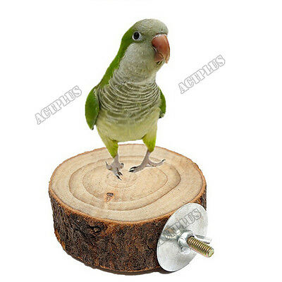 Pet Bird Parrot Hamster Wooden Cage Perches Stand Platform Hanging Toy Round New