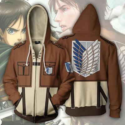 e Pullover Hoodie Hooded Tops Sweatshirt Jacket Zipper Coat  (Attack On Titan Hoodie)