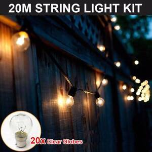 2 x 20x Festoon Christmas Party String Clear Globe Lights Silverwater Auburn Area Preview
