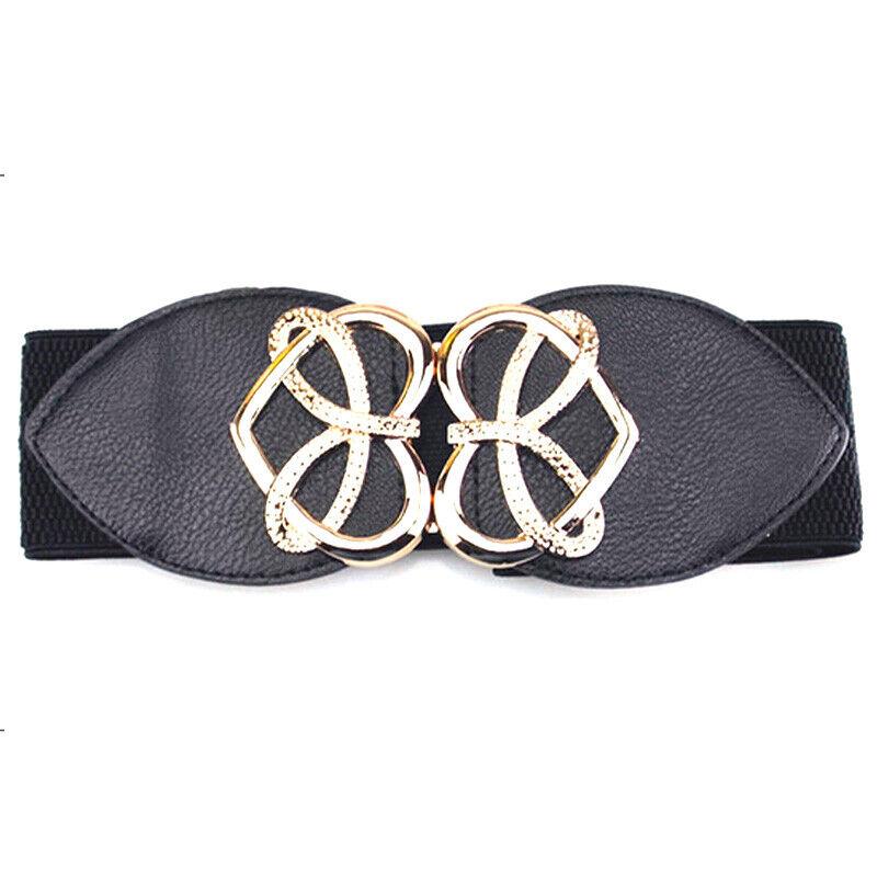 Women's Wide Fashion Belt Wide Elastic Belts Buckle Waist Dress Stretch Cinch Belts
