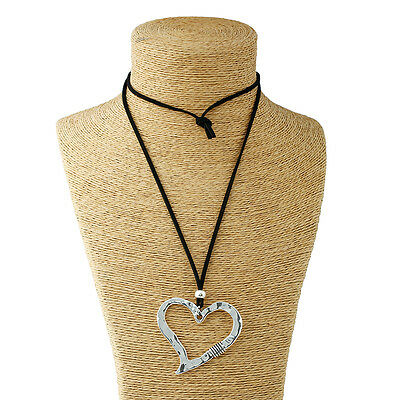 Abstract Heart Necklace - 1x Long Chain Lagenlook Large Alloy Charms Open Heart Pendant Abstract Necklace
