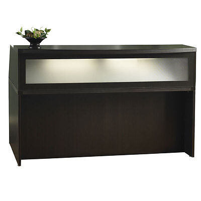 Mocha Finish Office Furniture Reception Desk With Textured Glass