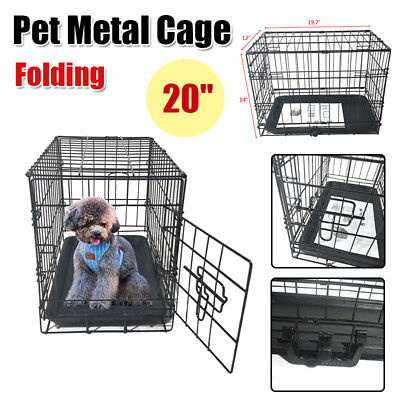 "20"" Folding Pet Dog Cat Crate Kennel Cage Playpen Wire Metal House Kit"